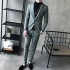 Men's Party Dress Suit 2PCS Blazer Slim Fit One Button Leather Pants Jacket Chic
