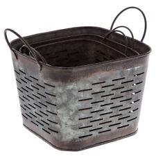 Galvanized Metal Square Olive Small Bucket Planters Set Of 2 Farmhouse Decor