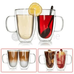 2 x Double Walled Insulated Glasses Thermal Coffee Glass Mug Tea Latte Espresso