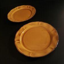 2 assiettes plates faïence Haute Provence ADP fait main art déco France N4630