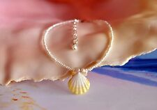 """Beach Girl Hawaiian Sunrise Shell Anklet on White Pearls 7"""" to 9"""" on .925 Silver"""