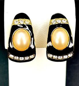 ELEGANT JOAN RIVERS FAUX PEARL RHINESTONE JET BLACK ENAMEL HUGGIE CLIP EARRINGS