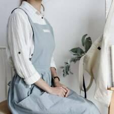 Women Lady Cotton Sleeveless Bib Apron Loose Dress Home Cooking Florist KS