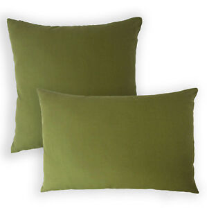 Aa130a Plain Olive Green Cotton Canvas Cushion Cover/Pillow Case*Custom Size*