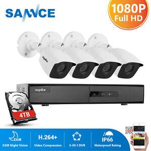 SANNCE 1080P HDMI 4CH DVR Recorder 3000TVL CCTV Home Security Camera System IR