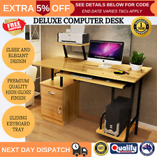 High Gloss Deluxe Oak Computer Desk Home or Office with Drawers and Shelves NEW