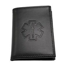 Star of Life EMT EMS Paramedic Medical Rescue Leather Bi Fold Mens Black Wallet