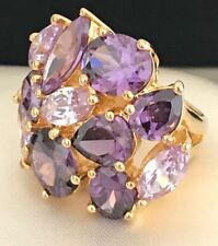 Joan Rivers Ring Purple Crystals Gold Tone Cocktail Statement Ring Sz 5 2m