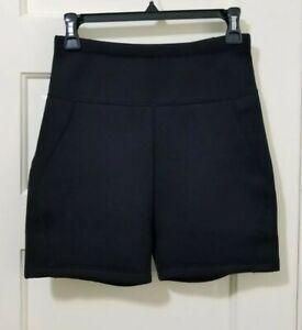 Womens 100% Neoprene Wetsuit Shorts Medium JET BLACK Back Zip Pocket STRETCH EUC