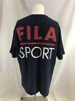 Vintage FILA Sport Spellout Big Logo Hip Hop Rap Blue Made USA Cotton 90s Tee L