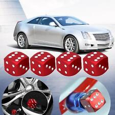 4x Aluminum Alloy Dice Style Car Tire Tyre Wheel Valve Stem Caps Dust Covers Red