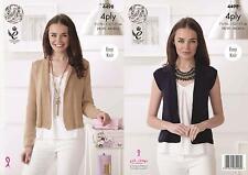 Easy Knit Ladies Cardigan Waistcoat King Cole Womens 4ply Knitting Pattern 4498