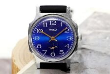 Vintage Blue Pobeda Victory USSR Russian Soviet Mens Watch + rubber new strap