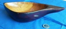 CARVED AND SHAPED WOODEN ORNAMENTAL DECORATIVE BOWL BLACK OUTER TAN INNER