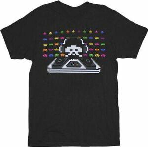 Adult Men's Arcade Video Game Space Invaders Cosmic DJ Black T-shirt Tee