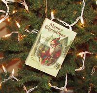 Primitive Antique Vtg Style Christmas Tree SANTA CLAUS Book Shelf Ornament Box