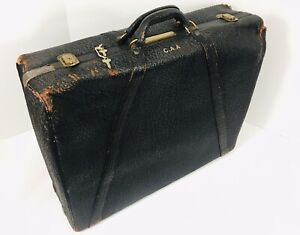 Antique 1900s Luggage USA DRESNER Distressed LEATHER Large Suitcase With Keys