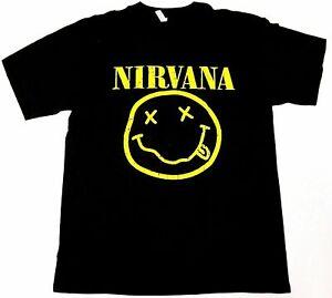 NIRVANA Smiley Face Tour T-shirt Kurt Cobain Rock Tee Men's Black New
