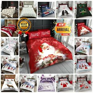 XMAS DUVET COVER SET SANTA CHRISTMAS GIFT REVERSIBLE QUILTED SINGLE DOUBLE KING