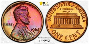 1968 S Lincoln Penny PCGS PR66RB Toned Proof Registry Coin 1C TV Red Brown