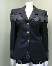 Louis Feraud Woman's Gray Charcoal Jacket~Size 8