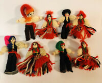 """Vintage Lot of 8 Portuguese Yarn Dolls 1940's, Ethnic Costumes, 2-3"""", 4 Couples"""