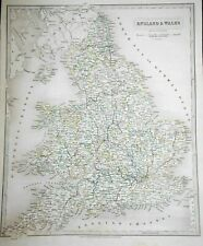 Hand Coloured England & Wales Map (1837) J & C Walker - English/Welsh, Outlined
