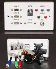 AV Wall Plate, 3 x HDMI / Cat6 Network / RGB / RCA Phono / USB2.0 / TV Sockets