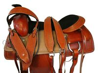 ROPING RANCH SADDLE PRO WESTERN 16 17 in PLEASURE HORSE TOOLED LEATHER TACK SET