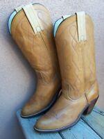 FRYE Womens Original Cowboy Boots Cognac Brown Leather Western Riding Size 7.5B