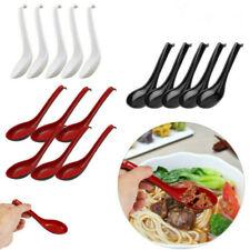 US 5/10Pcs Soup Spoons Ramen Noodle Long Handle Hook_Food Shop Kitchen Tableware