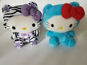 """Sanrio Hello Kitty Plush Lot of 2 ~ 6.5"""" Zebra & Blue Newest Style w/hang tags"""