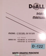 Doall C1213M CE1213M, Band Saw Machine Parts and Assembly Manual