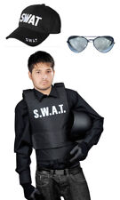 Halloween Men Women SWAT Adults Vest, Cap Sunglasses Fancy Police Dress Party