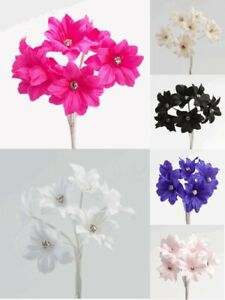 Fabric Flower With Diamante On Wire Stem Spray Favour Box Craft Decoration 35mm