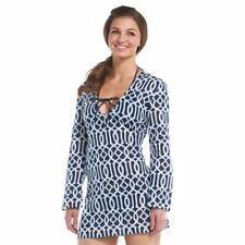 d72f4a71f9 Mud Pie Women's Totable Tunic SMALL 4/6 Lattice Navy/White Swimsuit Cover-