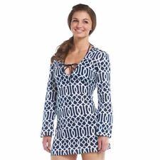 8f38f04da52f6 Mud Pie Women's Totable Tunic SMALL 4/6 Lattice Navy/White Swimsuit Cover-