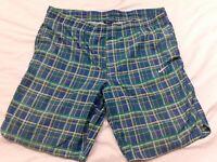 Nike Golf Shorts Green Blue Striped Drawstring Swim Trunks Skate Men's Size 42