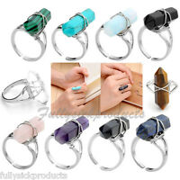 Women Crystal Hexagon Healing Point Chakra Gems Wire Wrap Finger Ring Adjustable