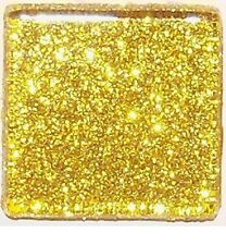 50 Tiles - 3/8 inch BRIGHT GOLD Glitter Glass Mosaic Tiles