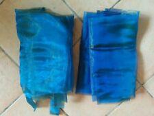 2 rideaux prets à poser bleu vert effet moiré 1,47cm x 240 cm x 2 panneaux
