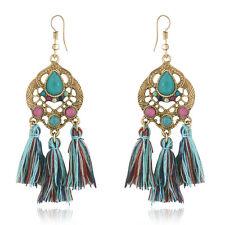 Spargz Indian Sty Color Beads Woolen Tassels Dangle Earrings For Women AIER 903