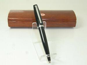Italian AURORA Jet Black / Chrome Trim Ballpoint Pen in Box