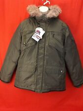 NWT PAJAR CANADA OLIVE NYLON COYOTE FUR HOODIE WINTER JAMES GOOSE DOWN JACKET L