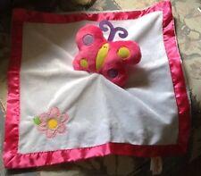 Vintage Dan Dee Butterfly Lovey Security Blanket Pink Satin Trim White Pink