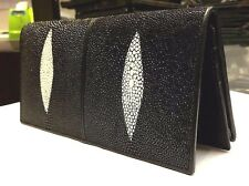 Genuine Stingray Wallets Skin Leather Bifold Long Men's Black Wallets Handmade