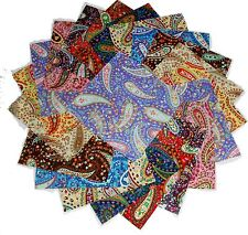 75 - 4 inch  Quilting Fabric Squares Paisley, Paisley and more Paisley 2 !!4""