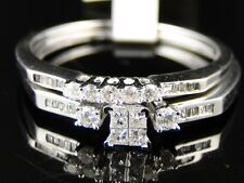 10K LADIES WHITE GOLD PRINCESS DIAMOND ENGAGEMENT WEDDING DUO RING SET .29 CT