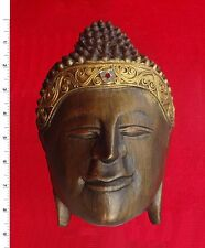 Thai Buddha Face Image    Wood Texture    Carved Wooden Sculpture