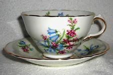 Vtg-HM Sutherland Bone China Made In England Blue & Pink Floral Tea Cup & Saucer